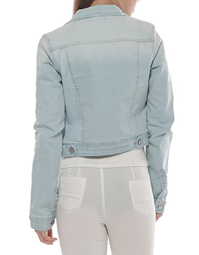 PERHAPS U Women's Short Cropped Denim Jacket Button Front Long Sleeves Jean Jackets for Women (XX-Large, Light Blue) by PERHAPS U (Image #2)