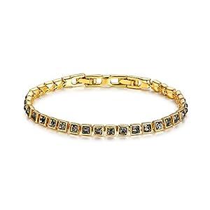 MYJS Tennis Square Bracelet with Black Diamond Swarovski Crystals Gold  Plated 859f818929a9