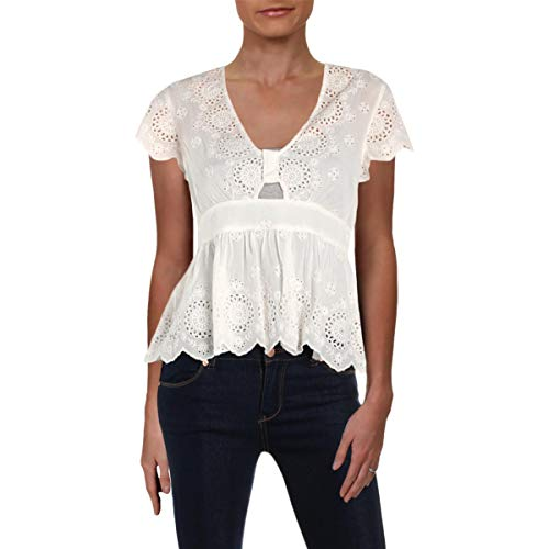 Free People Womens Truly Yours Cut-Out Eyelet Pullover Top Ivory - Cut Eyelet Out