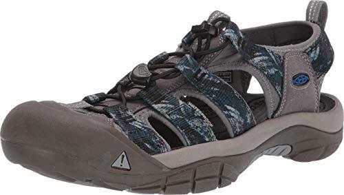 KEEN Men's Newport H2 Steel Grey/Bright Blue 13 D - 1 Footwear Black Patent