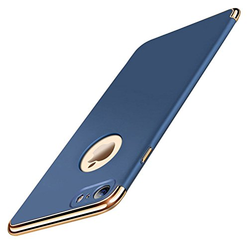 iPhone 7 Plus Case, iPhone 7+, Yimer 3-in-1 Slim Hard Protective Electroplate Frame Shockproof Cases (Blue)