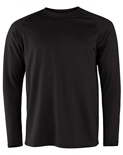 (Terramar Men's Military Fleece Long Sleeve Crew Hoodie, Black, Tall Medium (38