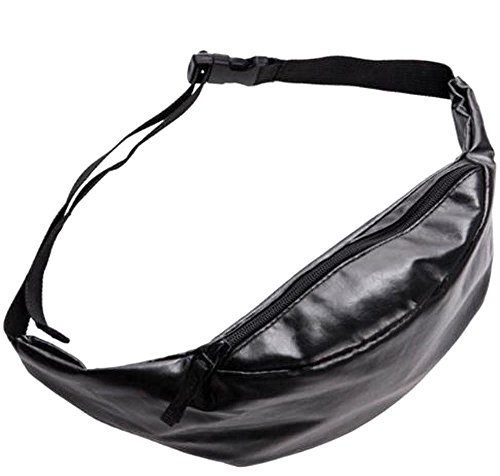 Black Shine Bling Leather Waist Fanny Pack Bag Pouch Casual Bum Purse (Bling Black, One_Size)