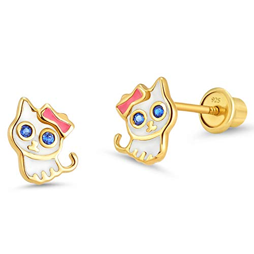 14k Gold Plated Enamel Cat Kitten Cubic Zirconia Girls Screwback Earrings with Sterling Silver Post