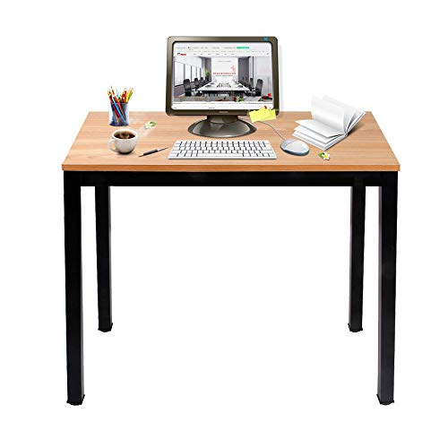 Need Small Computer Desk 39.4 Inch Sturdy Writing Desk for Small Spaces, Small Desk Teens Desk Study Table Laptop Desk, Teak AC3-10060-BB