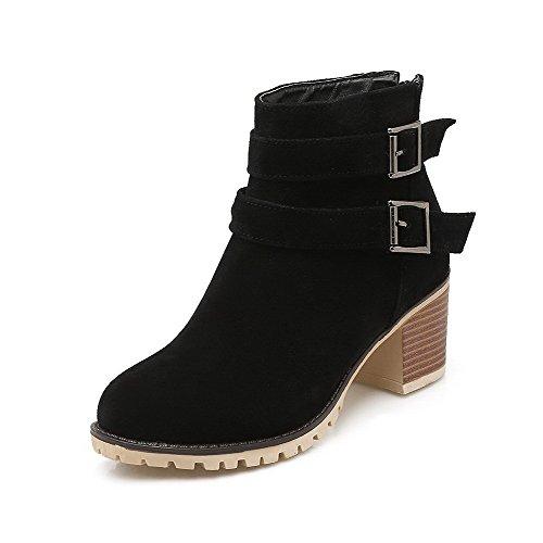 VogueZone009 Damen Rein Blend-Materialien Rund Zehe Reißverschluss Stiefel Schwarz