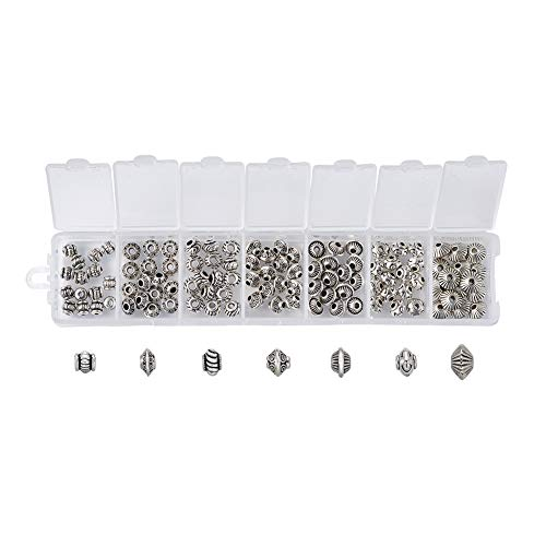 Beadthoven 105pcs/Box Tibetan Style Spacers Beads 7Style Assorted Antique Silver Vintage Alloy Beads for Jewelry Making Handmade Bracelets Accessories Crafts - Vintage Spacers