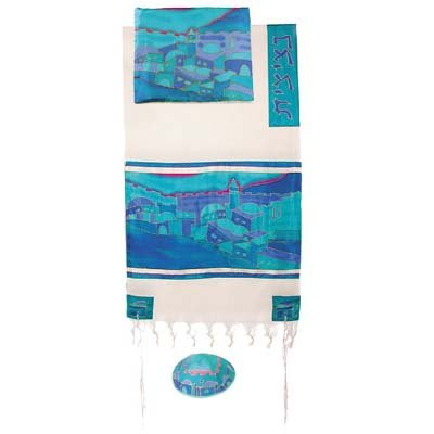 Vista in Turquoise Cotton and Silk Tallit Prayer Shawl Set - by Yair Emanuel - Size 21'' x 77'' by Yair Emanuel