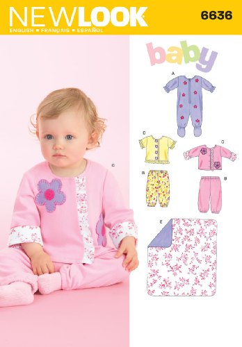 New Look Sewing Pattern 6636 Babies Separates, Size A (NB-S-M-L)