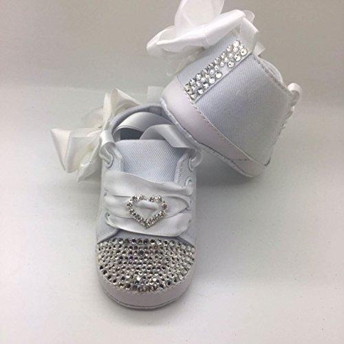 Individuell Baby Mädchen Weiß Taufe Schuhe Größe 2. 3/6Monate ca.. Kinderbett Kinderwagen Schuhe Kristall Bling Strass Diamant Bling. First Walker.