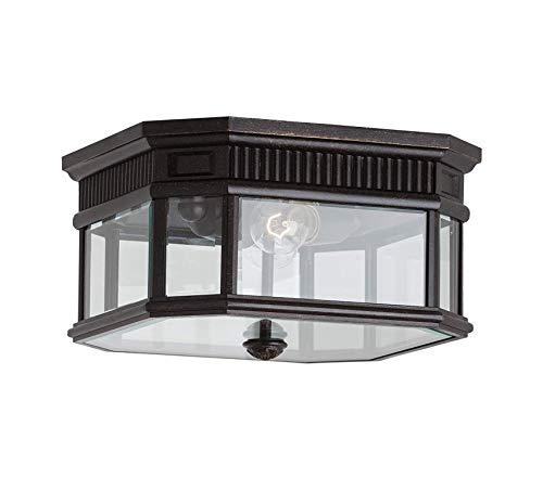 Garden Decors Premium Cotswold Lane Outdoor Flush Mount Ceiling Lighting, 2-Light, 120 Watts, Bronze (12'W x 7'H) ()