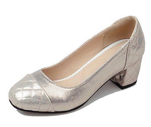 VogueZone009 Damen Ziehen auf Quadratisch Zehe Mittler Absatz Rein Pumps Schuhe Golden