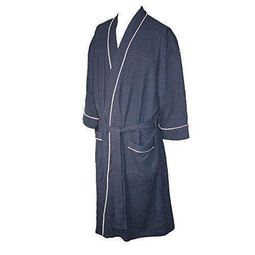 Majestic International Men's Big & Tall Cotton Waffle Knit Kimono Robe, 1X/2X, Navy ()
