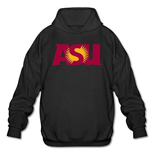 Jirushi Men's Arizona State University Logo Hooded Sweatshirt Black Large