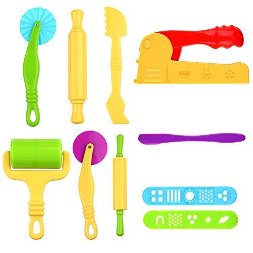 Kare & Kind® Set of 10 pcs Smart Dough Tools Kit with Extruder Machine / Dough Tools (Extruder + Dough - More Play Doh