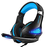 Gaming Headset for Xbox One, PS4, Nintendo Switch, PC, Selieve Noise Cancelling Over Ear Headphones with Mic, LED Light Bass Surround Soft Memory Earmuffs for Fortnite/PUBG/God of War (Black & Blue)