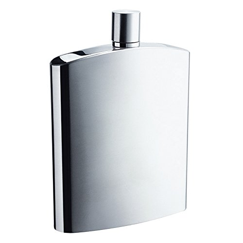 Savage 8oz Hip Flask in Calender Finished 18/8 Stainless Steel by Savage