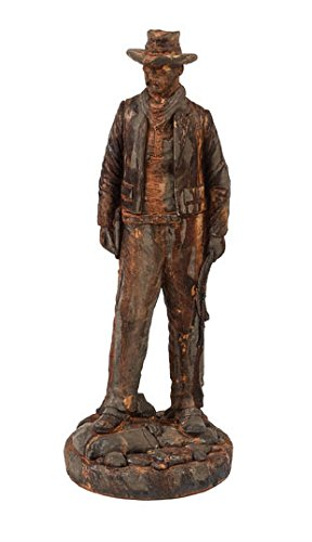 Solid Rock Stoneworks Wyatt Earp Western Cowboy Statue 31in Tall Rust Color