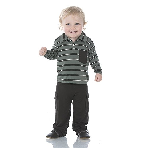 Stripe Polo Coverall - Kickee Pants Little Boys Print Long Sleeve Polo with Pocket and Cargo Pant Set - Succulent Kenya Stripe, 3T