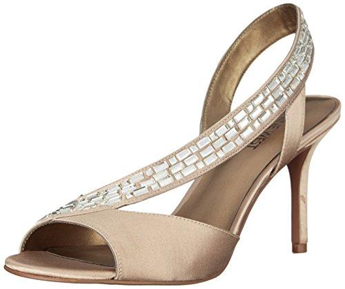 Pumps West Nine Satin (Nine West Women's Giulia Satin Heeled Sandal, Light Gold, 7 M US)