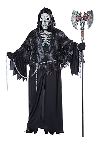 California Costumes Men's Plus-Size Evil Unchained Scary Ghost Demon Skeleton Grim Reaper Plus, Black, Plus Size - Grim Reaper Plus Size Adult Mens Costumes
