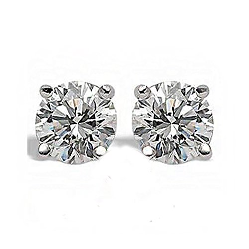 (0.79CT F SI1 Round Cut Diamond Stud Earrings 14K White Gold)