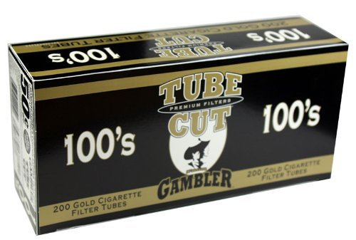 Gambler Tube Cut Gold Light 100mm RYO Cigarette Tubes 200ct Box (5 Boxes) by Gambler