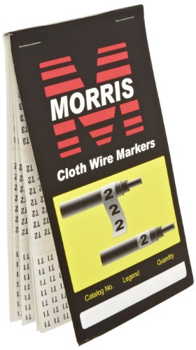 Morris Products Pre-Printed Wire Marker Booklet - T1,T2,T3 Standard Marking - 150 Markers Per Legend - For Cable Hook Ups - Oil, Water, Abrasion Resistant - Self-Adhesive Cloth Material - 1 Count ()