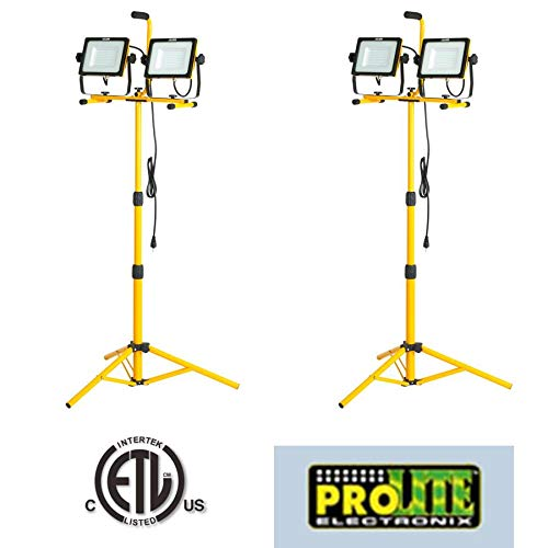 CASE of 2 Twin 14,000 Lumen 130 Watts 120 SMD LED Super Bright FLOODLIGHTS Job SITE Work Light with Detachable Tripod LF240ST