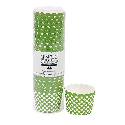 Simply Baked Small Paper Baking Cups, Green with White Dot, 25-Pack, Disposable and Oven-safe by Simply Baked