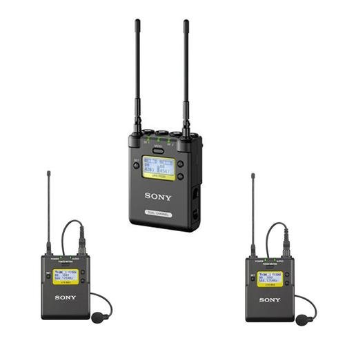 Sony URX-P03D Wireless System, Includes 2-CH Portable Receiver and 2X Belt-Pack Transmitter with Lav Mics, Frequency: 470-542MHz