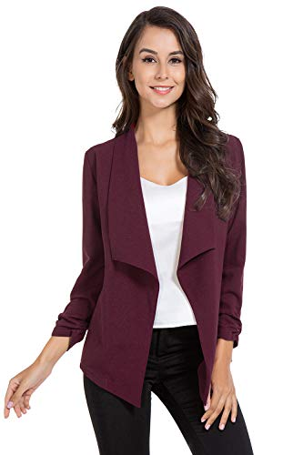 - AUQCO Casual Open Front Blazer for Women Work Office Business Jacket Ruched 3/4 Sleeve Lightweight Draped Cardigan Wine Red, Large