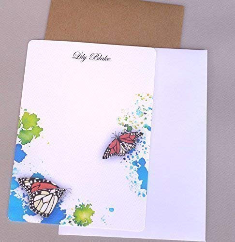 Personalized Flat Note Card Set, Watercolor Monarch Butterfly, Girl's Custom Monogram Stationery, Stationary Kit, Women's Contemporary Garden Cards ()