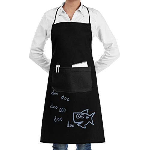 Shark Doo Adjustable Apron For Unisex, Traditional Dacron Chef Apron With Pocket (Best Doo Dads Recipe)