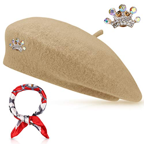 Wool Beret Hat Solid Color French Artist Beret with Skily Scarf and Brooch (Camel)]()