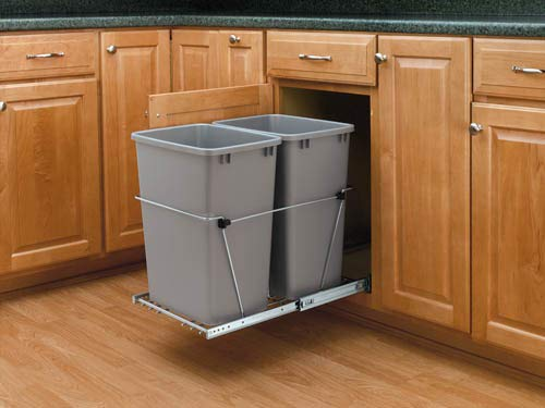 (Rev-A-Shelf - RV-18KD-17C S - Double 35 Qt. Pull-Out Silver and Chrome Waste Container)