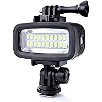 Sunix 40M Waterproof Diving Light High Power Dimmable LED Video POV Flash Fill Light, 6W 20 LEDs 700LM for GoPro Hero 3/4 Sports Cameras DSLR