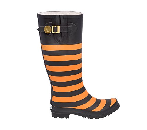 U Black and Orange Bright Lillybee H Initial Rainboots d17qAxWw