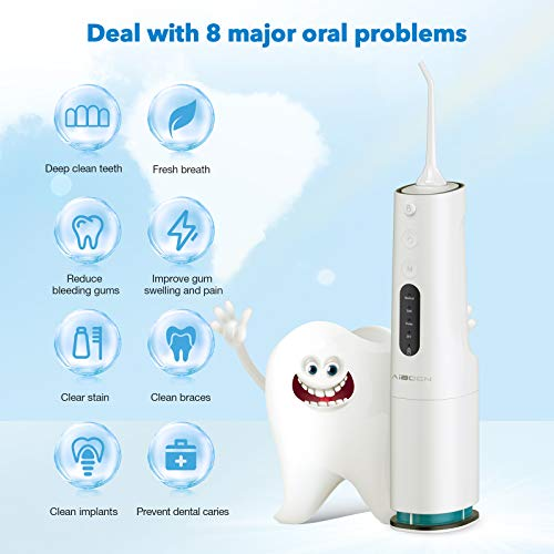 Water Flosser Cordless, 300ML Portable Dental Oral Irrigator for Teeth Cleaning Flossers, 4 Modes, 4 Jet Tips, IPX7 Waterproof, USB Charged 4 Hrs for 30-Days Use, Teeth Cleaner for Travel Home Braces