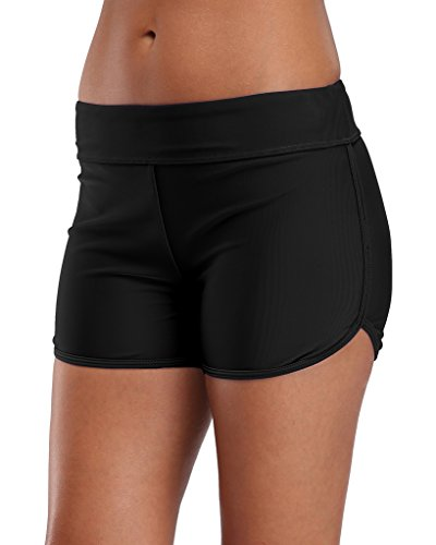 Sociala Womens Swimming Bottoms Bikini Briefs Boy Style Tankini Shorts L Black Style Swimming Pool