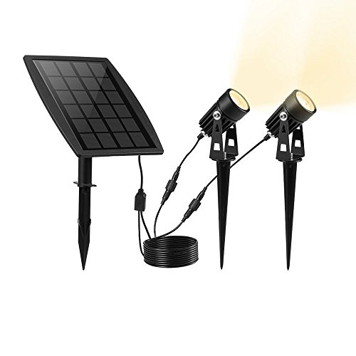 P65 Solar Powered Spotlight with 2 Warm White Lights for Outdoor/Garden/Courtyard/Lawn - Black (White Outdoor Spotlight)