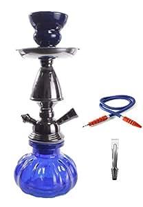 YYONLINE-Cachimba Pequeña de 1 Salida Para Fumar, Pipa de Agua, Shisha, Narguila, Hohaak Modelo 11109 + un regalo bateria externa 3600 mAh) Color azul
