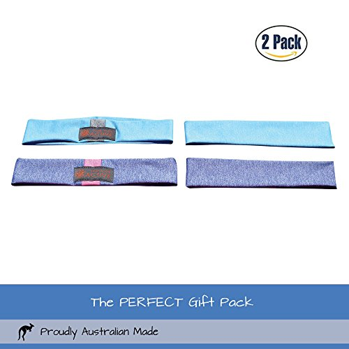 Red Dust Active Lightweight Sports Headband - Non Slip Moisture Wicking Sweatband - Ideal for Running, Cycling, Yoga and Athletic Workouts - by Twin Pack by Red Dust Active (Image #2)