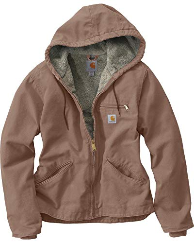 Carhartt Women's Sherpa Lined Sandstone Sierra Jacket (Regular and Plus Sizes), Taupe Gray, Small