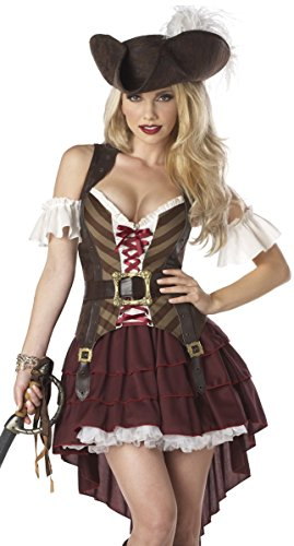 California Costumes Sexy Swashbuckler Pirate Adult Costume (Small Red)