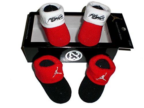 Nike Air Jordan Newborn Baby Booties Black and Red, Size 0-6 Months (Newborn Infant Jordan Shoes)