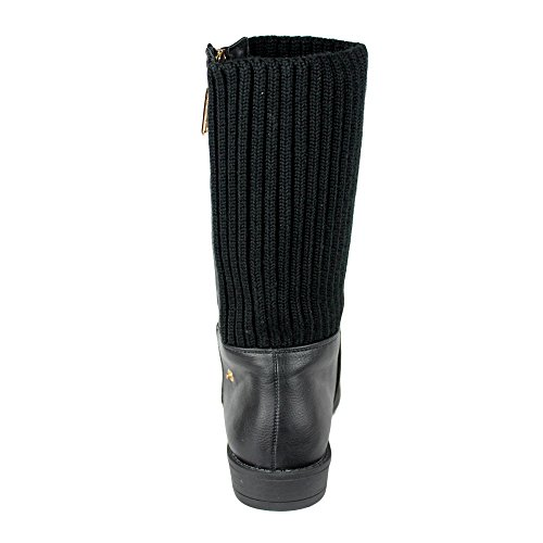 Boots Accent Zipper Mid Fold Womens Calf Knitted Black Over xRwg0qO