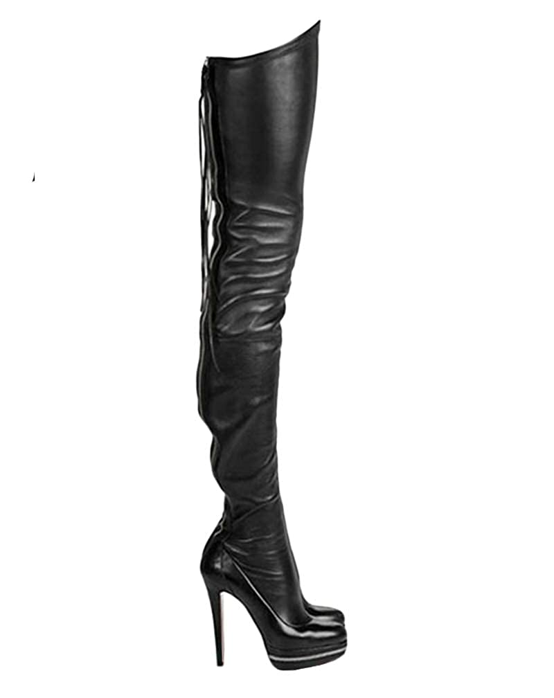 b0188cad25aaab Amazon.com | termarnoov 2018 Women Thin High Heel Thigh High Boots PU  Leather Platform Booties Winter Zipper Over The Knee Boots | Over-the-Knee