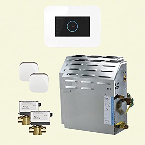 Mr Steam S4C1AI3WH - eSeries 20kW Steam Bath Generator at 240V with iSteam 3 Touch Screen Control in White with matching AromaSteam iSteam steam head. For generator models MS90E to - 20 Kw Steam Generator