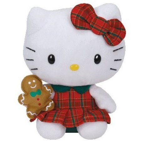 Ty Hello Kitty Holiday Red Plaid Dress holding Christmas Gingerbread Man